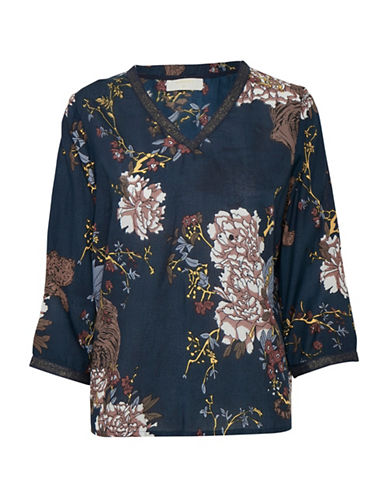 Cream Sueellen Floral Blouse-BLUE MULTI-44