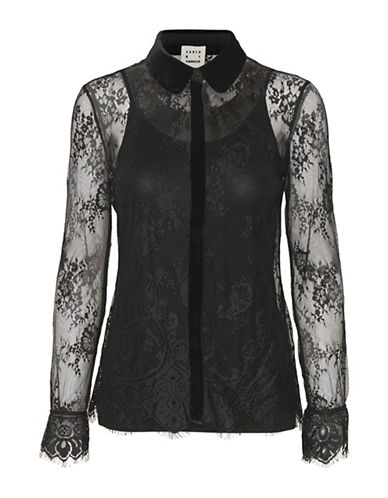 Karen By Simonsen Respect Lace and Velvet Blouse-BLACK-Medium