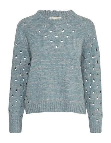 Cream Donata Perforated Pullover-BLUE-X-Small