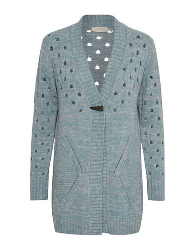 Cream Donata Perforated Cardigan-BLUE-Small