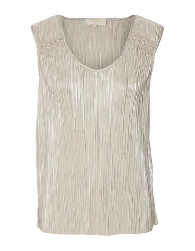 Cream Bella Pleated Sleeveless Top-GOLD-Large