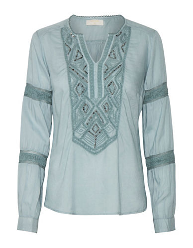 Cream Tilde Embroidered Blouse-BLUE-38
