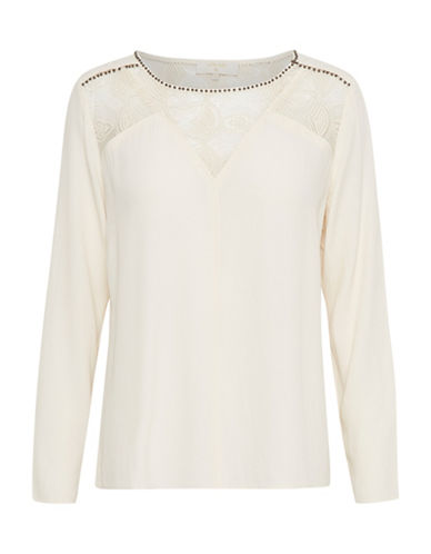 Cream Cara Long Sleeve Blouse-BEIGE-44
