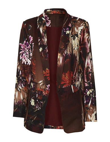 Cream Kasha Floral Blazer-RED-36