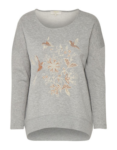 Cream Jana Hummingbird Sweatshirt-GREY-X-Small