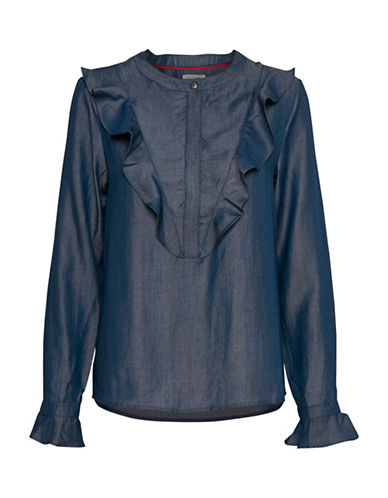 Denim Hunter Lee Ruffle Blouse-NAVY-34