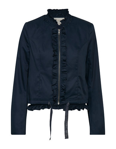 Cream Adele Ruffle Jacket-ROYAL NAVY-40