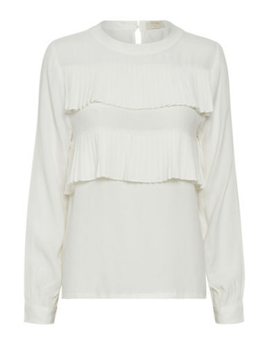 Cream Garner Pleated-Trim Blouse-WHITE-42