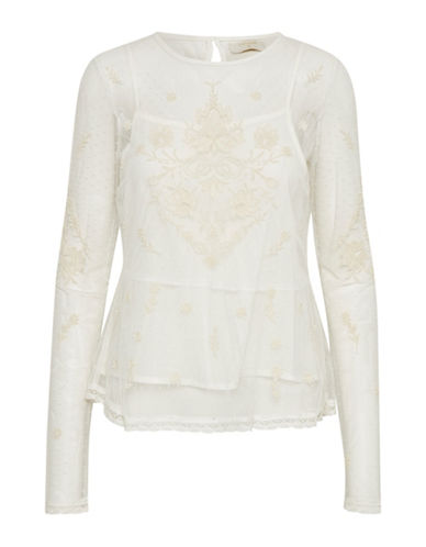Cream Astid Mesh Blouse-NATURAL-42