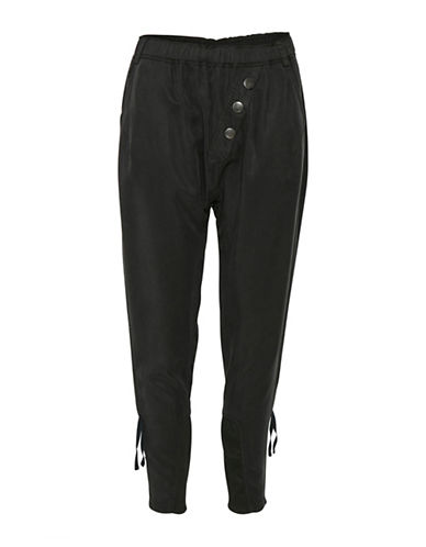 Cream Sillian Button Fly Sweatpants-BLACK-44