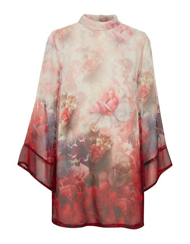 Cream Claudia Floral Shift Dress-RED-36