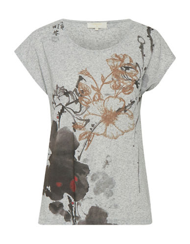 Cream Ally Floral Tee-GREY-Large