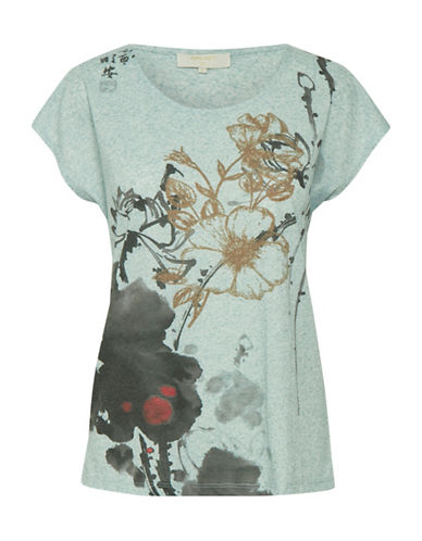 Cream Ally Floral Tee-GREEN-Small