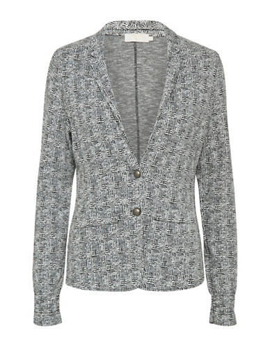 Cream Cherry Jacquard Blazer-GREY-Medium