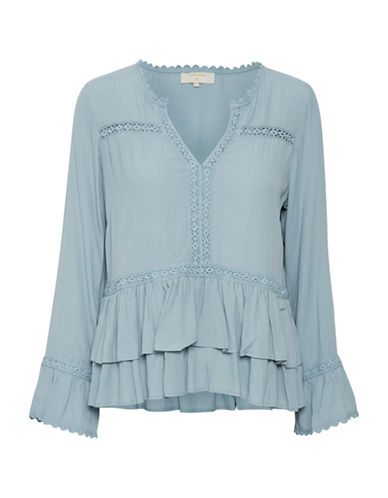 Cream Kalan Bell-Sleeve Blouse-BLUE-36