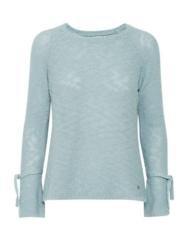 Cream Amila Tie-Sleeve Pullover-BLUE-Large