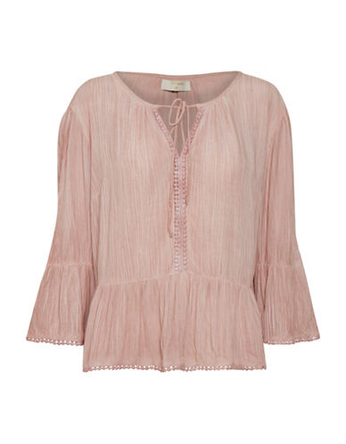Cream Stella Bell-Sleeve Blouse-PINK-38