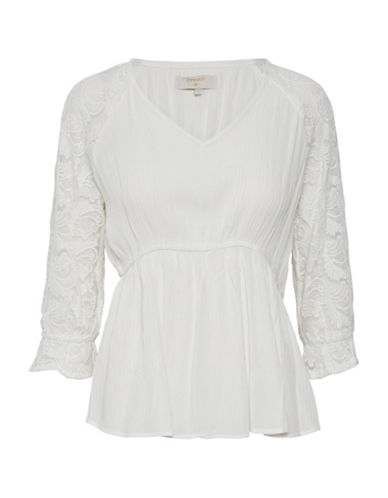 Cream Beau Lace Blouse-WHITE-38