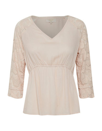 Cream Beau Lace Blouse-PINK-44