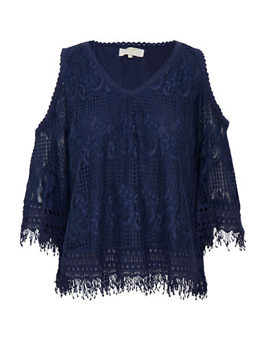 Cream Zira Fringed Blouse-BLUE-40