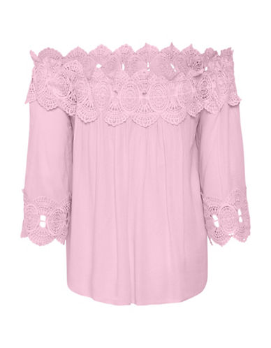 Cream Bea Lace Off-The-Shoulder Blouse-BRIGHT PINK-42