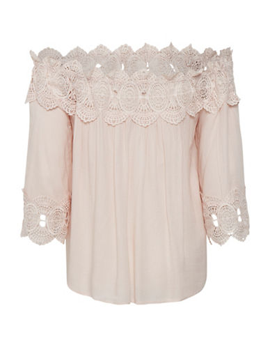 Cream Bea Lace Off-The-Shoulder Blouse-PINK-36