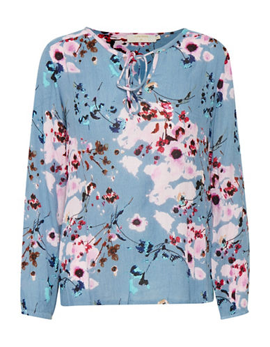 Cream Alison Floral Blouse-BLUE-34