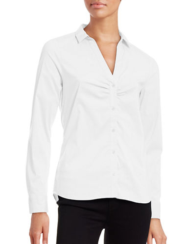 Inwear Ruched Front Split-Collar Blouse-WHITE-32