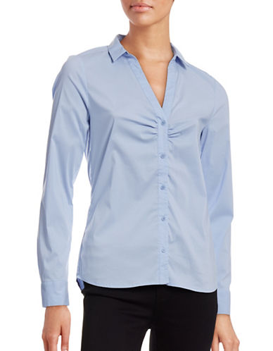 Inwear Ruched Front Split-Collar Blouse-BLUE-32