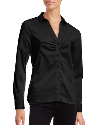Inwear Ruched Front Split-Collar Blouse-BLACK-32