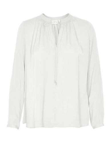 Inwear Gathered Long Sleeve Blouse-WHITE-42