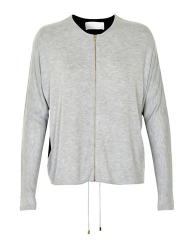 Inwear Yona Knit Zipper Cardigan-LIGHT GREY-Medium