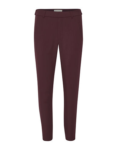 Inwear Zip Cuffs Dress Pants-WINE-40