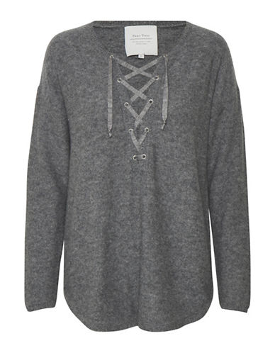Part Two Inova Lace Front Pullover-GREY-Medium