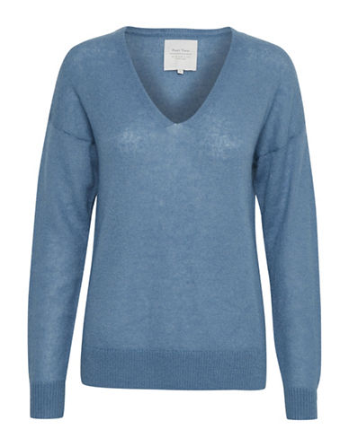 Part Two Itzel V-Neck Pullover-BLUE-X-Large