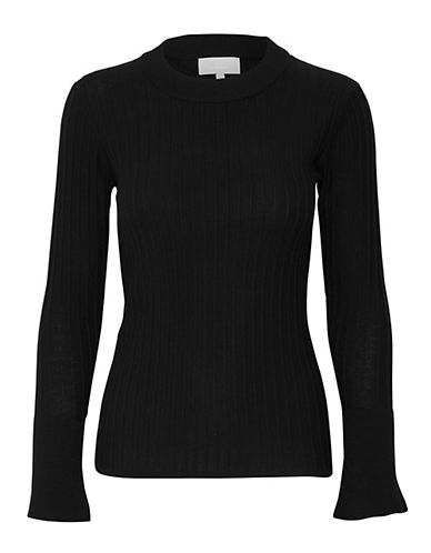 Inwear Naoko Ribbed Mock Neck Pullover-BLACK-Small