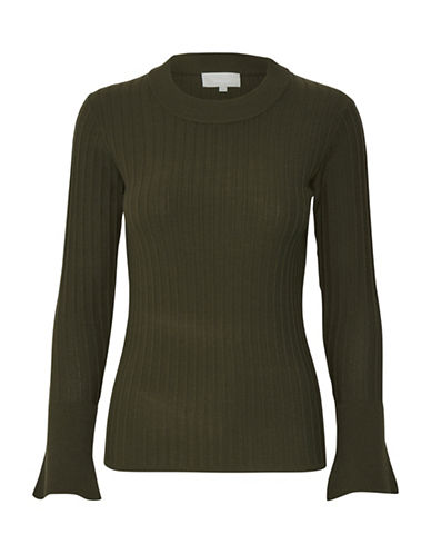 Inwear Naoko Ribbed Mock Neck Pullover-GREEN-X-Small