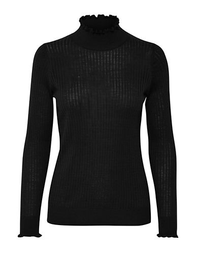Inwear Noah Ribbed Turtleneck Pullover-BLACK-Large
