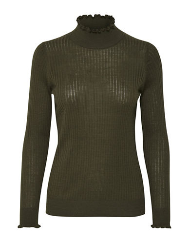 Inwear Noah Ribbed Turtleneck Pullover-GREEN-Small