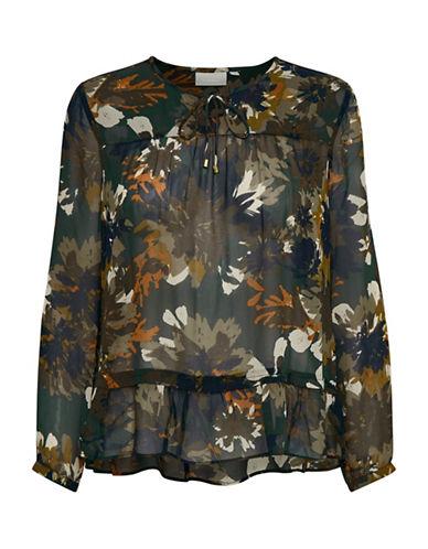 Inwear Mariposa Ruffled Hem Floral Blouse-GREEN MULTI-34