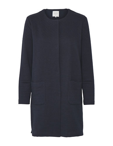 Part Two Ilia Rib-Knit Coat-BLUE-Large