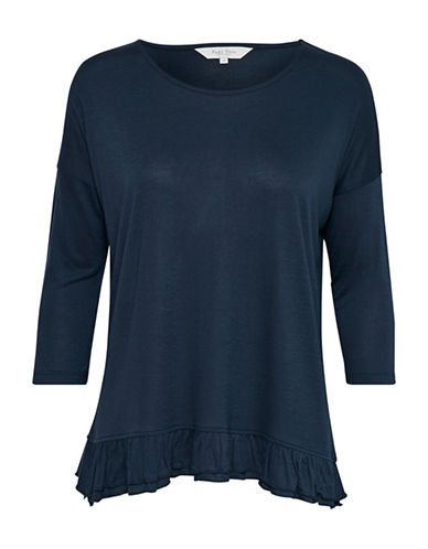 Part Two Imagine Ruffle Hem Top-BLUE-X-Large