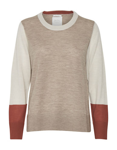 Part Two Evalu Wool Colourblock Sweater-NATURAL-Large