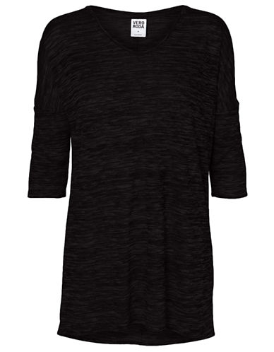 Vero Moda Anna Asti Three Quarter Sleeve Top-BLACK-Large