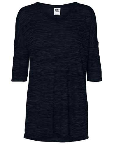 Vero Moda Anna Asti Three Quarter Sleeve Top-NAVY-Large