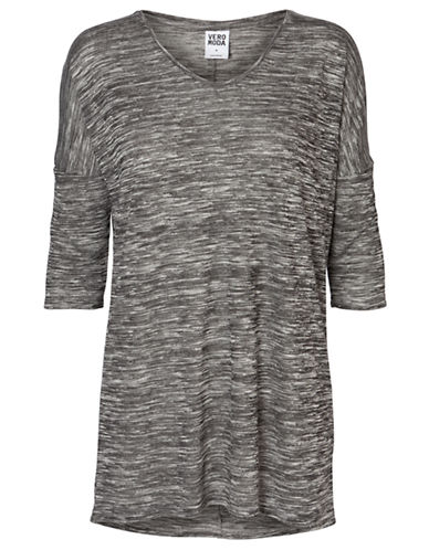 Vero Moda Anna Asti Three Quarter Sleeve Top-GREY-Large
