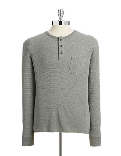 Selected Homme Striped Long Sleeve Henley-DARK GREY-X-Large