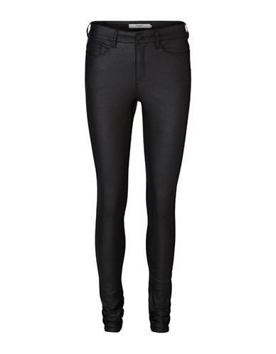 Vero Moda Coated Super-Slim Jeggings-BLACK-Small