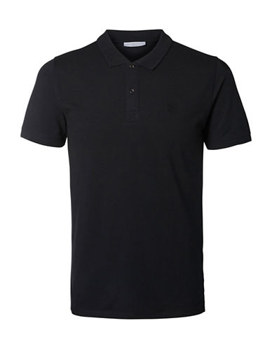Selected Homme SHHARO Embroidered Polo-BLACK-X-Large