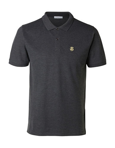 Selected Homme SHHARO Embroidered Polo-GREY-Medium